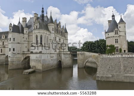 Famous castle Chenonceau standing across a river. Loire Valley, France.