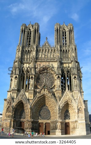 famous cathedral in the french city of Rheims - stock photo