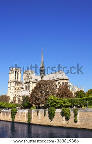 Famous Cathedral of Notre Dame de Paris and river Seine in Paris, France - stock photo
