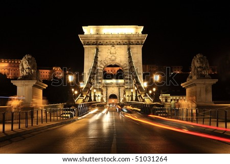 Famous chain bridge in Budapest, Hungary