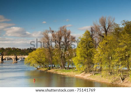 Famous Charles bridge on Vltava river in Prague in spring