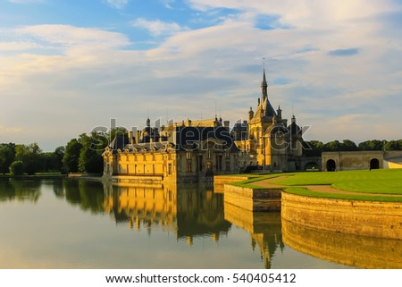 Famous Chateau de Chantilly (Chantilly Castle). Oise, France