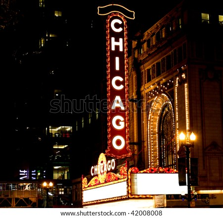 famous chicago theater sign - stock photo