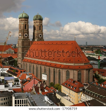 Famous church Frauenkirche in Munich, capital of Bavaria in southern Germany, seen from the town hall