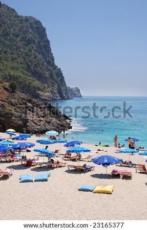 Famous Cleopatra Beach in Alanya, Turkey - stock photo