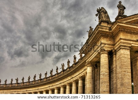 Famous colonnade of St. Peter's Basilica in Vatican, Rome, Italy. HDR image. - stock photo