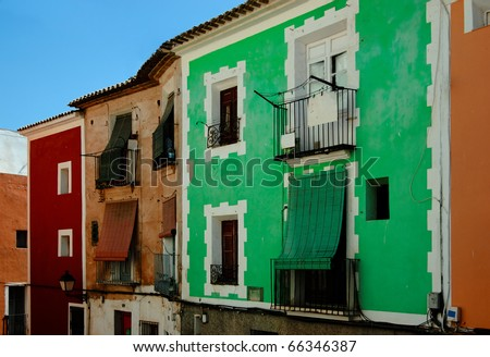 Famous colorful houses in Villajoyosa. Spain - stock photo