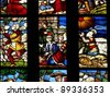 Famous colorful stained-glass window. Duomo Cathedral. Milan. Lombardy. Italy. - stock photo
