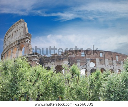 Famous Colosseum in Rome (Flavian Amphitheatre), Italia. - stock photo