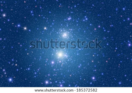 Famous double star cluster in the northern hemisphere. - stock photo