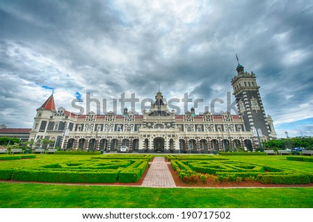 Famous Dunedin Railway Station was designed by George Troup and open in 1906. Dunedin, New Zealand - stock photo