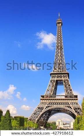 Famous Eiffel tower, Champ-de-mars in Paris. On blue sky background. Summer day