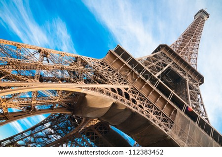 famous Eiffel Tower in Paris, France. - stock photo