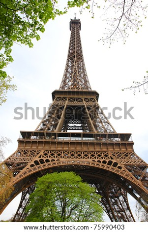 Famous Eiffel Tower in Paris, France - stock photo