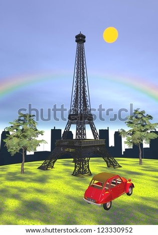Famous Eiffel tower on the grass next to a typical red 2cv car and in front of buildings and rainbow, Paris, France - stock photo