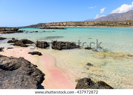 Famous Elafonisi beach on Greece island Crete
