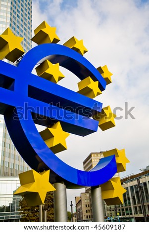 Famous euro sign in Frankfurt am Main wide-angle shot - stock photo