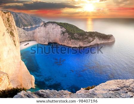 Famous European Beach Navagio in Zakynthos Island, Greece, part of Ionian Islands - stock photo