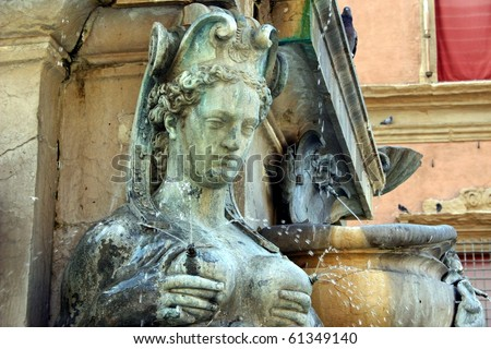 Famous fountain in Bologna, Italy - stock photo