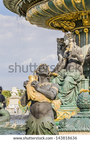 Famous Fountain of River Commerce and Navigation - one of the two Fountains de la Concorde (1840) on the Place de la Concorde. Paris, France