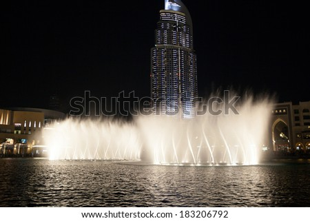 Famous fountain show in Dubai (UAE). Dubai fountains are one of the most complex and powerful fountain systems in the world. The shows are often presented with high quality music.