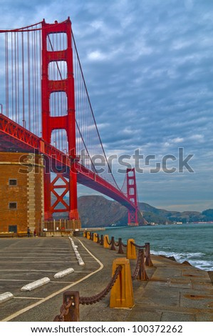 Famous Golden Gate Bridge against dramatic stormy sky
