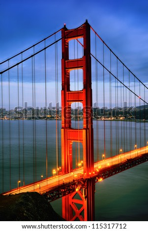 famous Golden Gate Bridge, San Francisco at night, USA