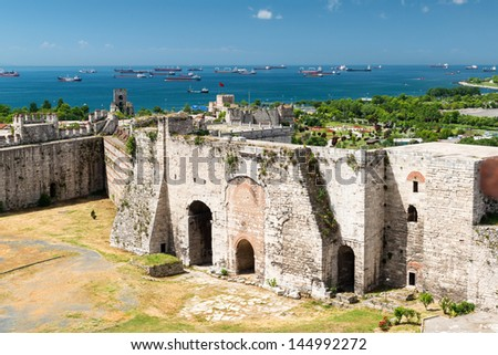 Famous Golden Gate of Constantinople in Istanbul, Turkey. Inside the Yedikule fortress. - stock photo