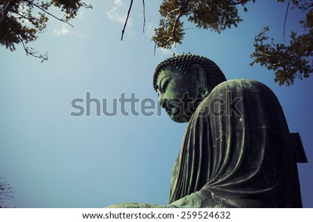 Famous great buddha (Daibutsu) sculpture of Kamakura city. - stock photo