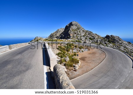 Famous hairpin curve on the road to the village of Sa Calobra on Majorca, Spain