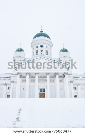 Famous Helsinki cathedral in Finland - stock photo