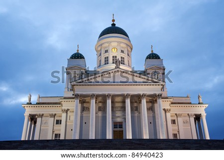 Famous Helsinki cathedral on Senate square during White Nights period in June