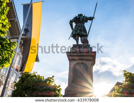famous historic statue in bad toelz - bavaria - germany - pfleger winzerer