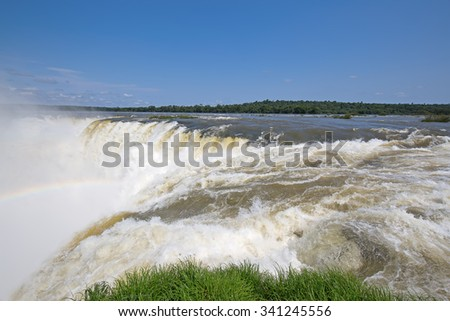 Famous Iguazu fallson the border between Argentina and Brasil