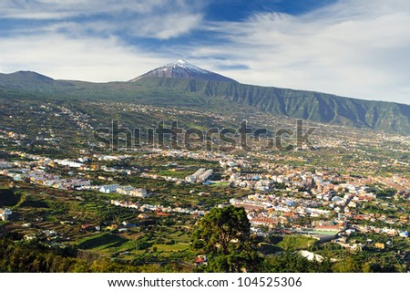 Famous isle of Tenerife, Spain with Orotava valley and volcano Teide - stock photo