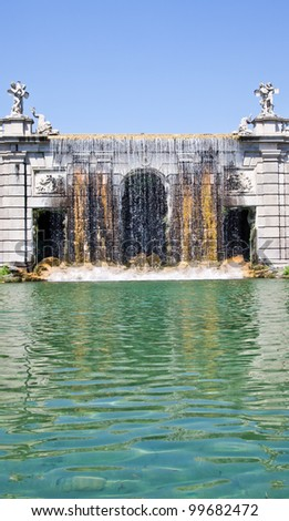 Famous Italian gardens of Reggia di Caserta, Italy. - stock photo