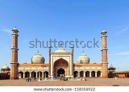 famous Jama Masjid Mosque in old Delhi, India. - stock photo