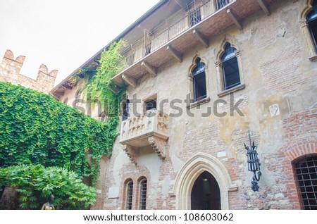 Famous Juliet balcony in Verona - stock photo