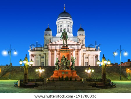 Famous landmark in Finnish capital: scenic night summer view of Senate Square with Lutheran Cathedral Church and monument to Russian Emperor Alexander II - stock photo