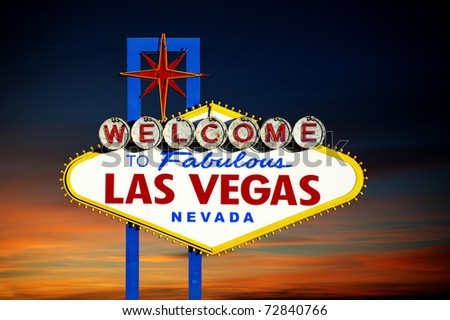 Famous Las Vegas Welcome Sign at sunset - stock photo