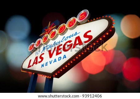 Famous Las Vegas Welcome Sign with bokeh of light in the background - stock photo