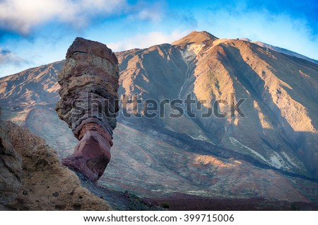 Famous lava stone Finger of God and Teide peak at sunset, Tenerife, Canary Islands