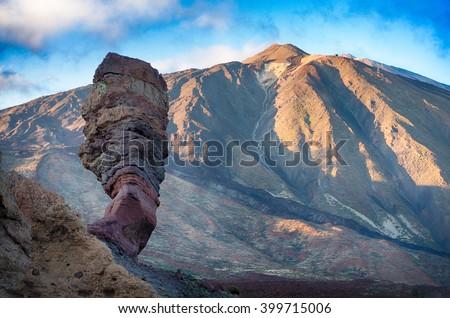 Famous lava stone Finger of God and Teide peak at sunset, Tenerife, Canary Islands - stock photo