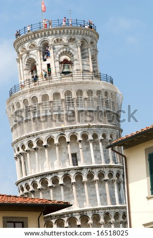 Famous Leaning Tower of Pisa - stock photo