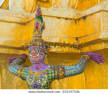 famous legend pink monster lift the golden pagoda at the Grand Palace, Bangkok, Thailand