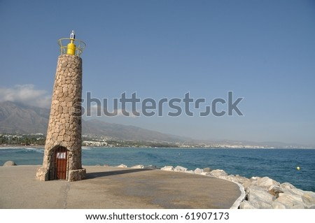 famous lighthouse in Puerto Banus (Marbella), Spain