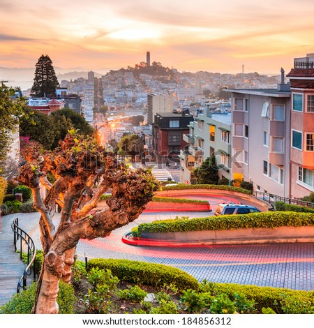 Famous Lombard Street in San Francisco at sunrise - stock photo