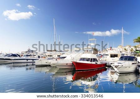 Famous marina of Puerto Banus near Marbella on Costa del Sol, Andalusia, Malaga province, Spain - stock photo