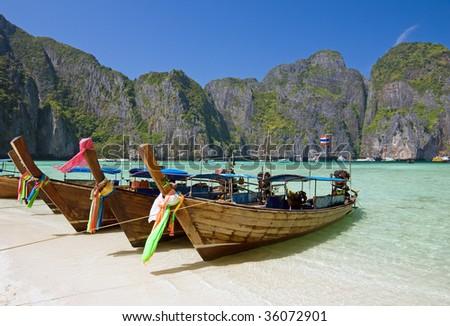 Famous Maya bay of Phi-phi Leh island, Krabi province, Thailand - stock photo