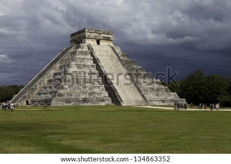 Famous mayan pyramid Kukulkan in Chichen Itza. Mexico travel background.  Latin American landmark. - stock photo